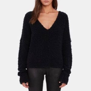 Free People black v-neck furry sweater Large NWT